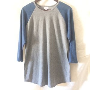 Lularoe Randy Shirt Size XL Blue Sleeves Grey Dots